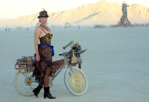 Amber in steampunk garb, Burning Man 2012